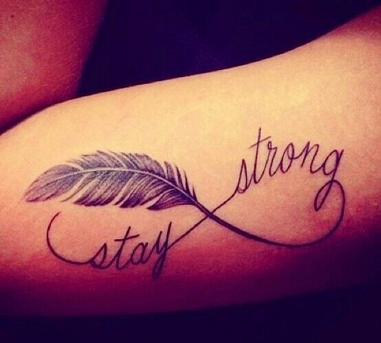 Infinity Symbol Feather Stay Strong Tattoo On Arm