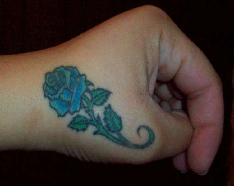 18 Beautiful Blue Rose Flowers Tattoo Pictures