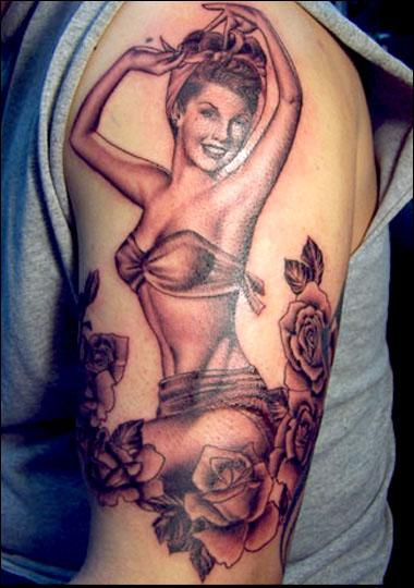 Old School Grey Pin Up Tattoo On Left Sleeve