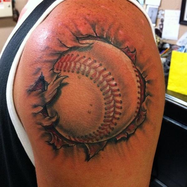 Baseball tattoo on shoulder