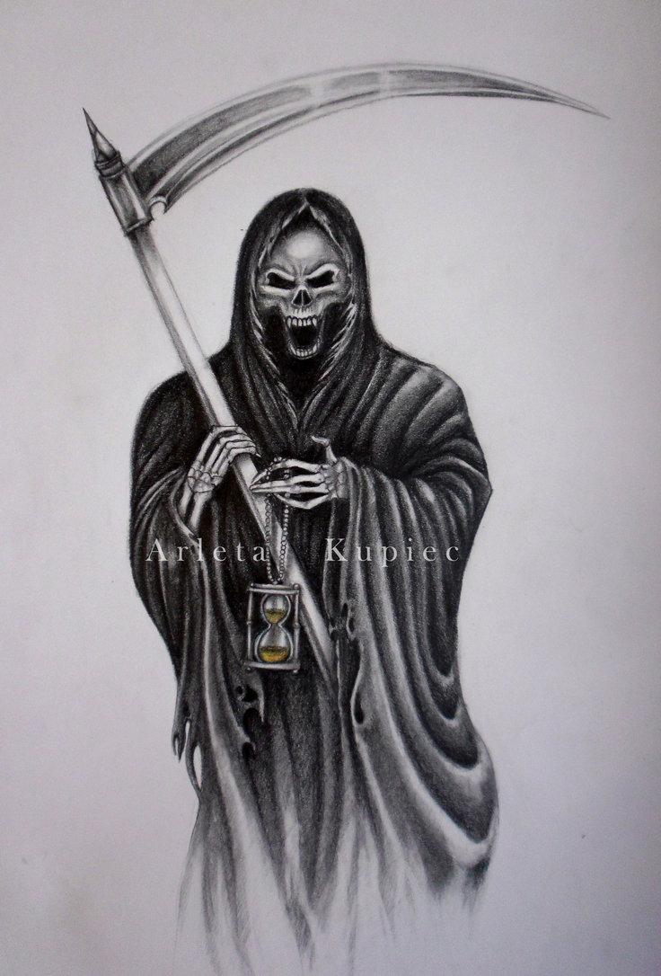 grim reaper holding hourglass tattoo design. Black Bedroom Furniture Sets. Home Design Ideas