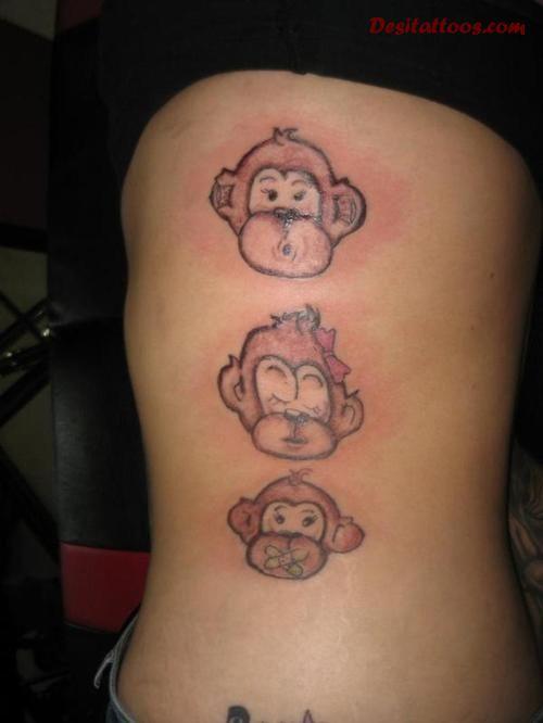 3a2139ab2 Three Monkeys Face Tattoo On Side Rib