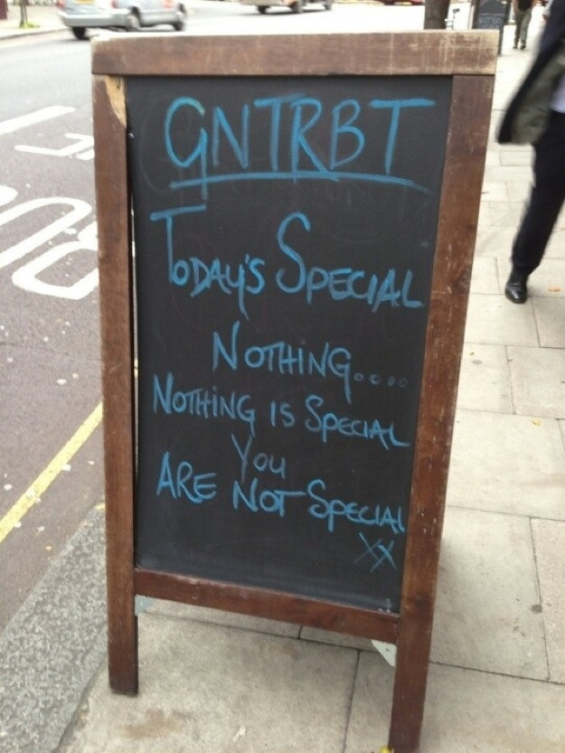 Today's Special Nothing Restaurant Funny Sign Board