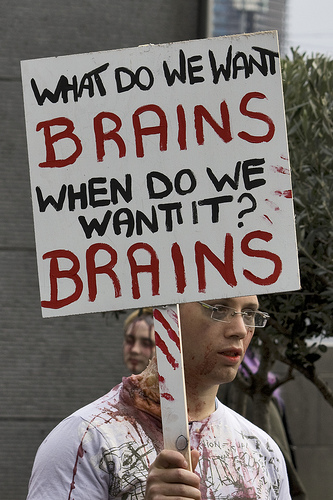 What Do We Want Brains Funny Zombie sign Board