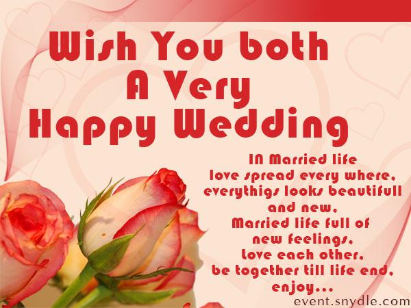 wish you both a happy wedding