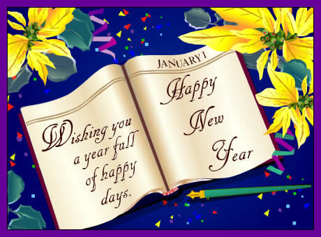 wishing you happy new year greeting card