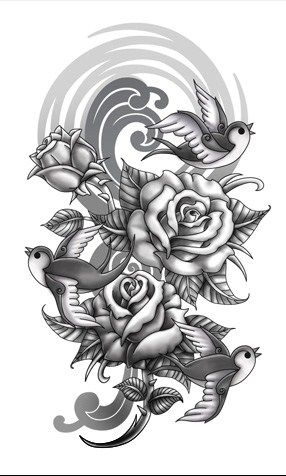amazing roses tattoo design. Black Bedroom Furniture Sets. Home Design Ideas