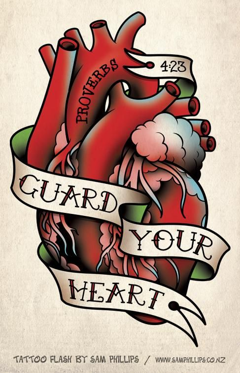 human heart with message guard your heart tattoo design. Black Bedroom Furniture Sets. Home Design Ideas