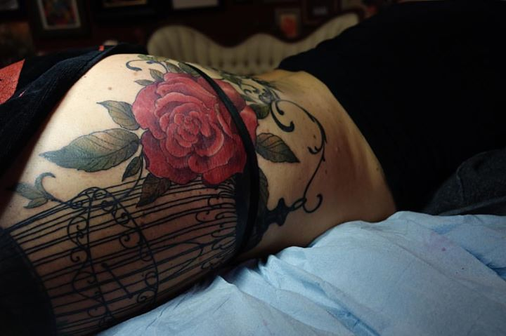 Red Rose Tattoo On Side Body By Jeff Gogue Art