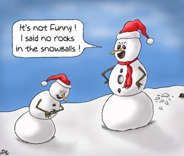 Funny Christmas.Snowmen In Santa Claus Hat Laughing Funny Christmas