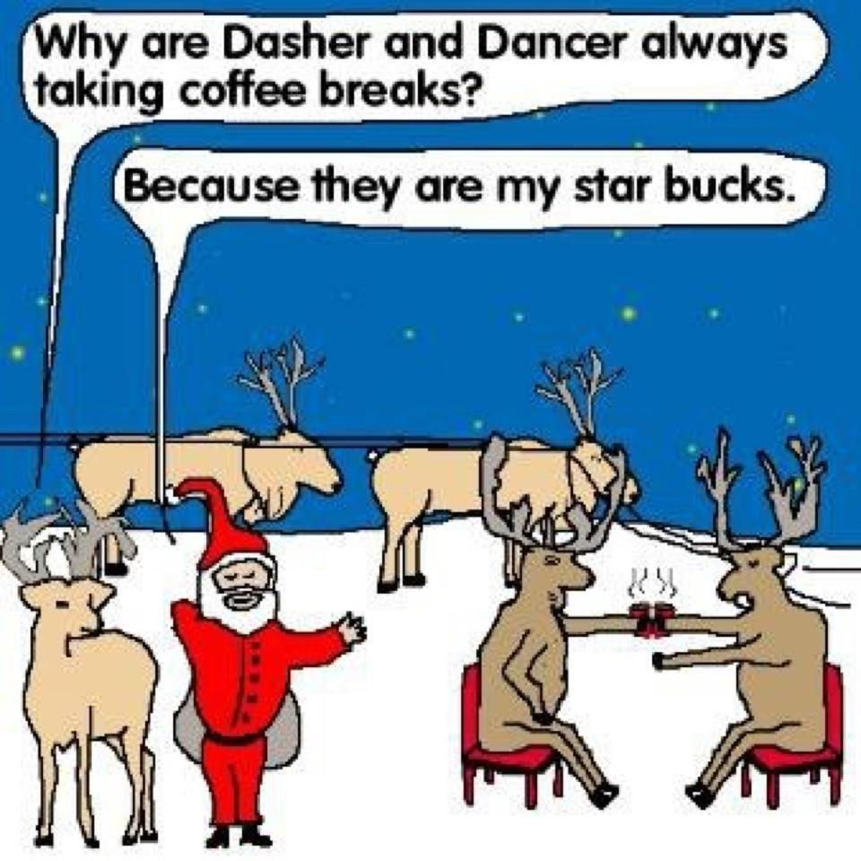 Christmas Joke.Why Are Dasher And Dancer Always Taking Coffee Breaks Funny
