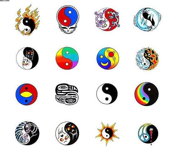 amazing colorful yin yang tattoo flash