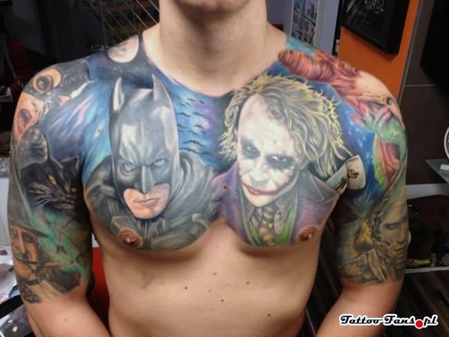 17 joker tattoo designs ideas pictures and images for Joker batman tattoo