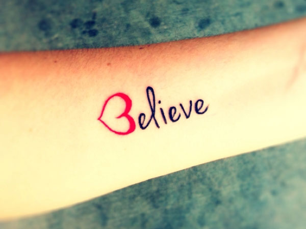 Believe Word Love Tattoo On Forearm