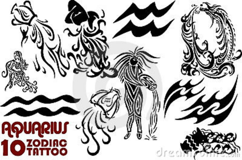Black 10 Zodiac Aquarius Tattoo Flash