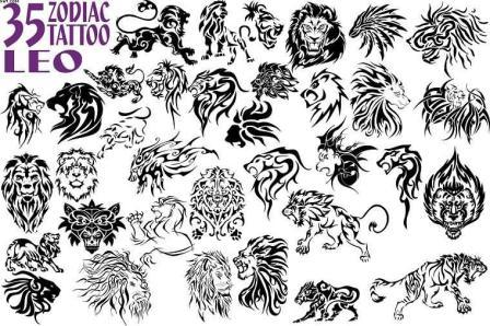 black 35 zodiac leo tattoo flash. Black Bedroom Furniture Sets. Home Design Ideas
