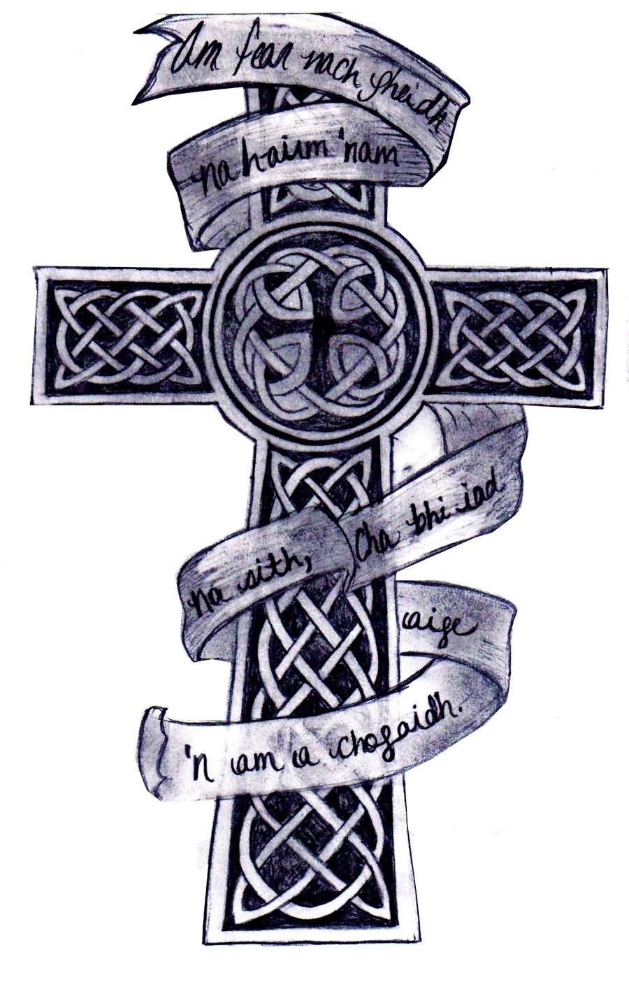 Black And Grey Celtic Cross With Banner Tattoo Design By Kara Rose Todd