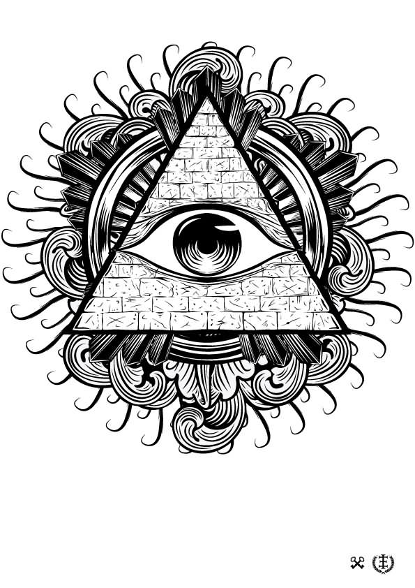 black and grey illuminati eye tattoo stencil by e1. Black Bedroom Furniture Sets. Home Design Ideas