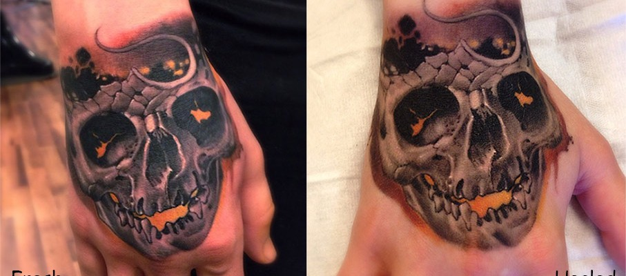 Black And Grey Realistic 3D Skull Tattoo On Hand