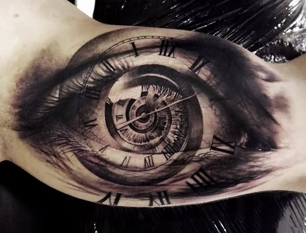 Black And Grey Realistic Eye Clock Tattoo On Bicep