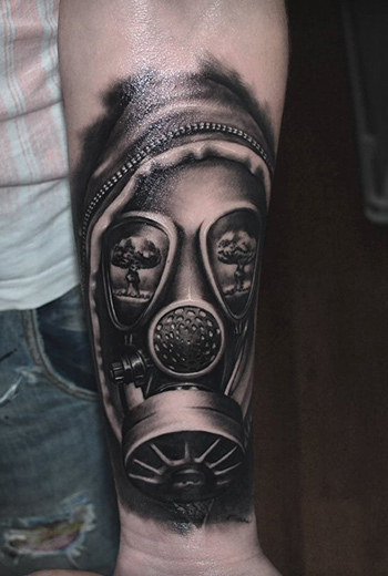 Black And Grey Realistic Mask Tattoo On Forearm