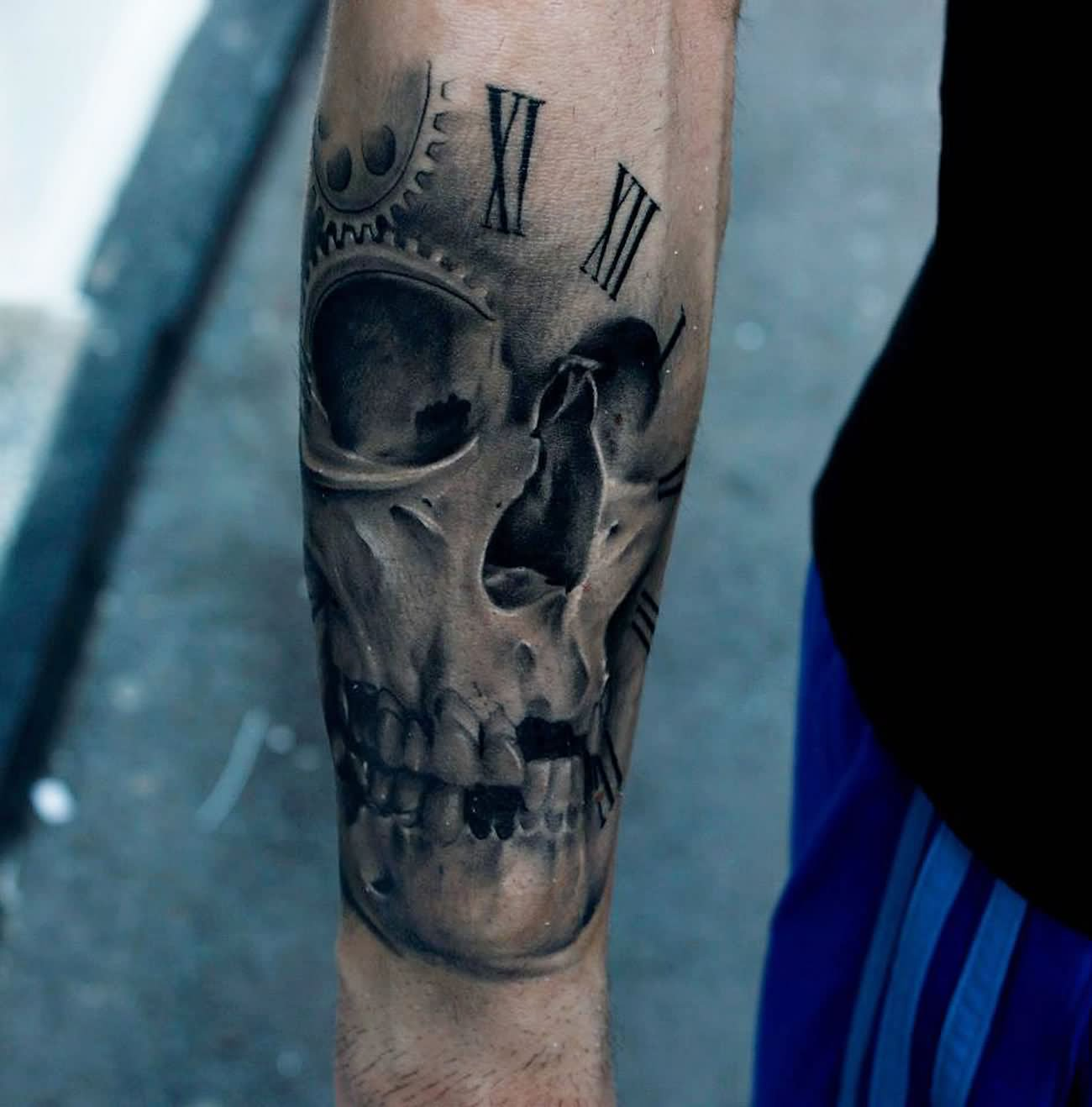 Clock forearm black rose sleeve tattoo - Black And Grey Realistic Skull In Clock Tattoo On Forearm By Bacanu Bogdan