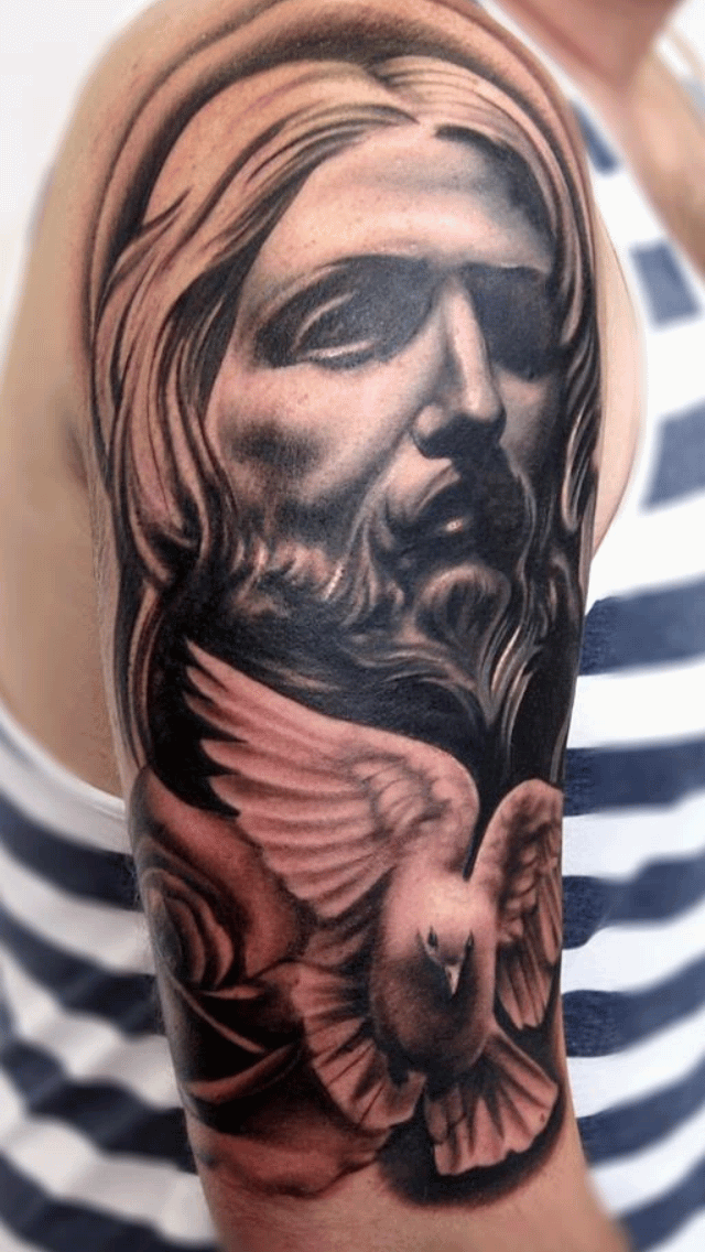 Black And Grey Religious 3d Jesus Face With Flying Dove Tattoo On