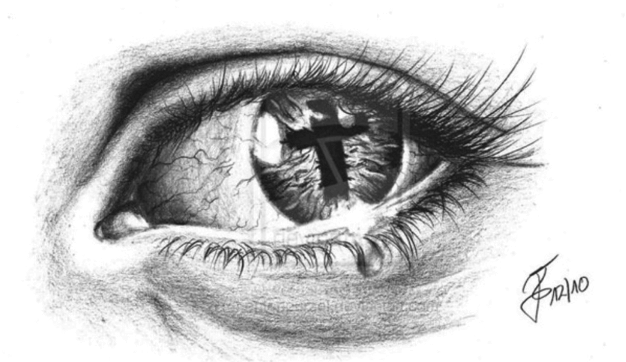 Black and grey religious cross in crying eye tattoo design