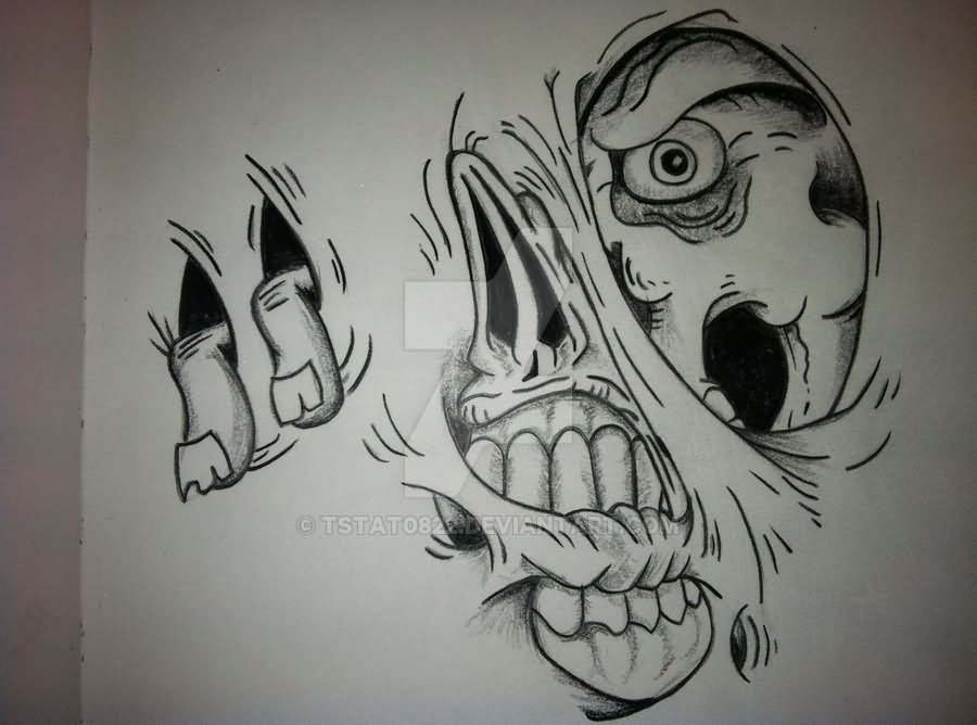Zombie Face Line Drawing : Black and grey ripped skin zombie face tattoo stencil by terry staton