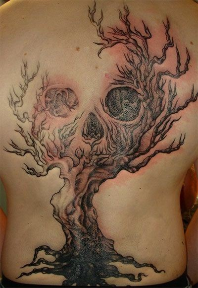 15 tree tattoo images pictures and designs for Tree back tattoo