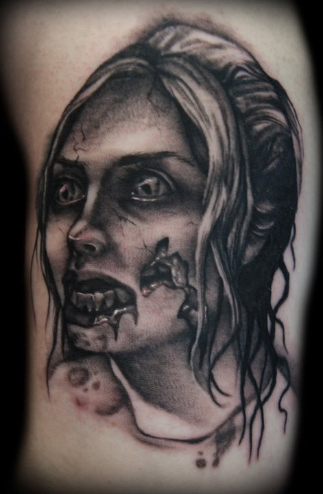 3ab24f1277255 Black And Grey Zombie Woman Face Tattoo Design By Timothy Robinson