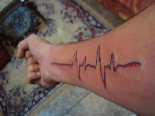 black and red heartbeat tattoo on forearm by dj niks. Black Bedroom Furniture Sets. Home Design Ideas