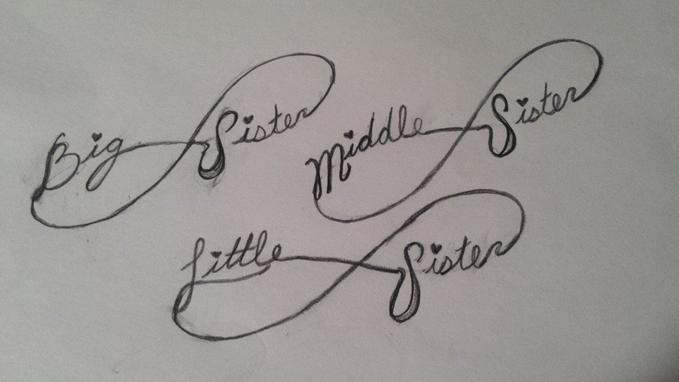 2 sister tattoo designs for Tattoos for sisters of 3