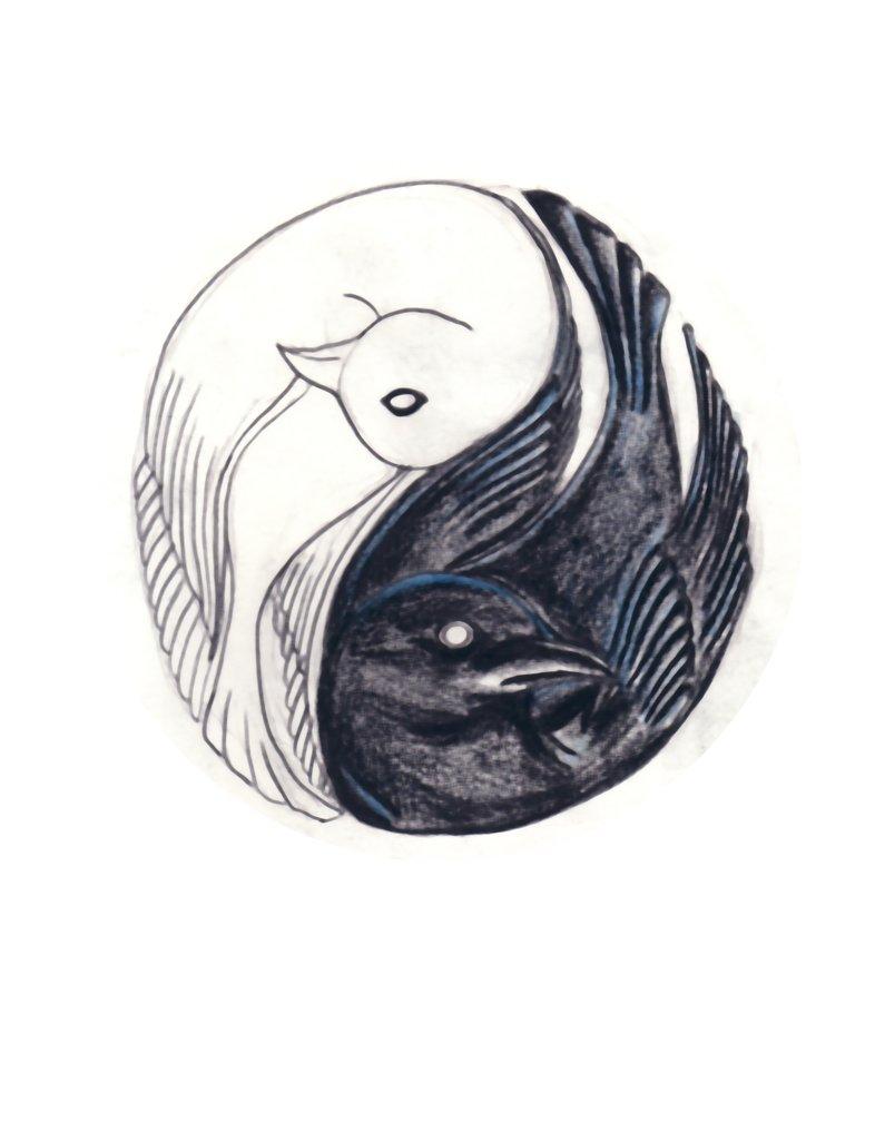 black crow and dove yin yang tattoo design. Black Bedroom Furniture Sets. Home Design Ideas