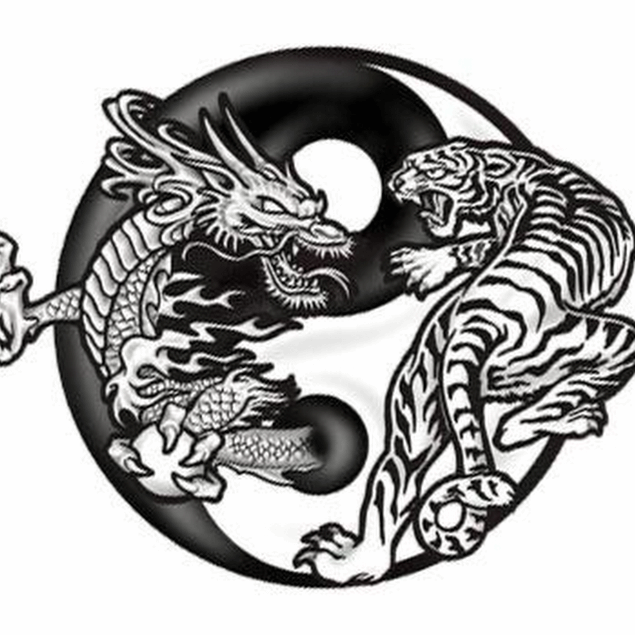 black dragon and tiger in yin yang tattoo design. Black Bedroom Furniture Sets. Home Design Ideas