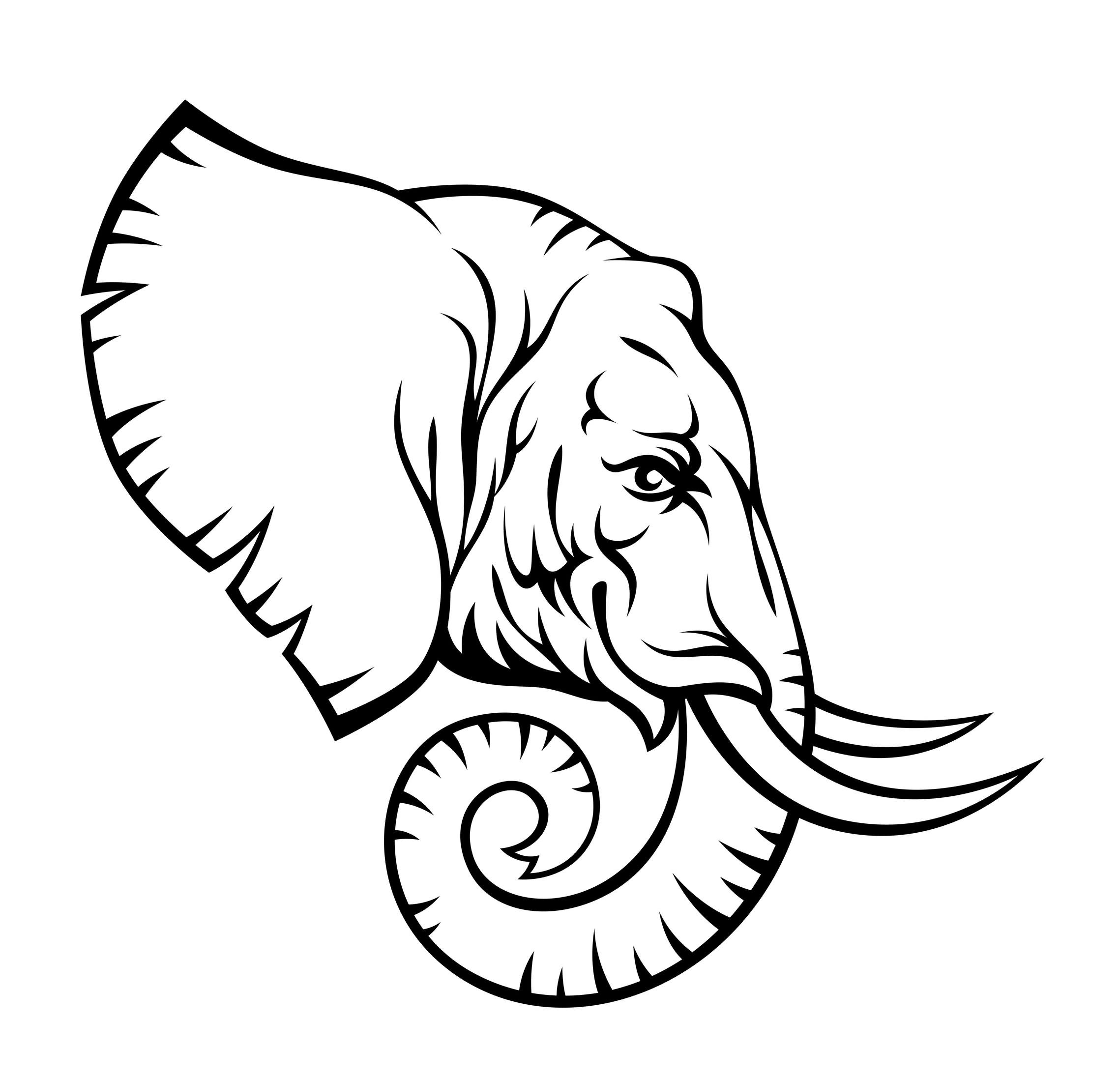 Abstract elephant with compass tattoo on right side thigh for Tattoo artist stencils