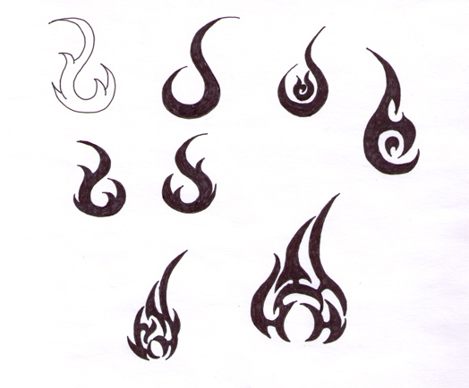 Black Fire Flame Tattoo Flash By Rena Lovely