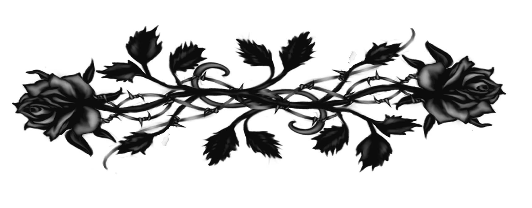 Black Gothic Rose Tattoos Design Sample .