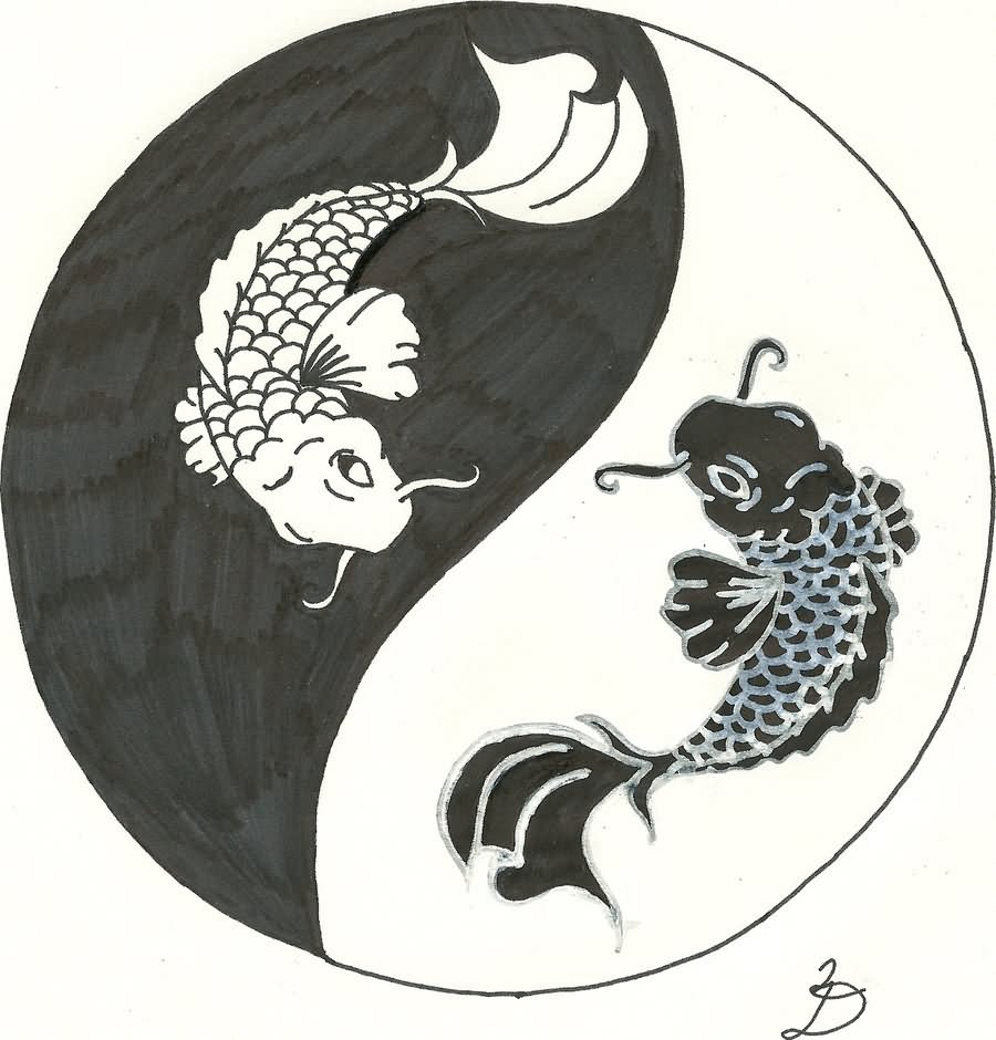 Black pisces in yin yang tattoo design by relentlessart sciox Gallery