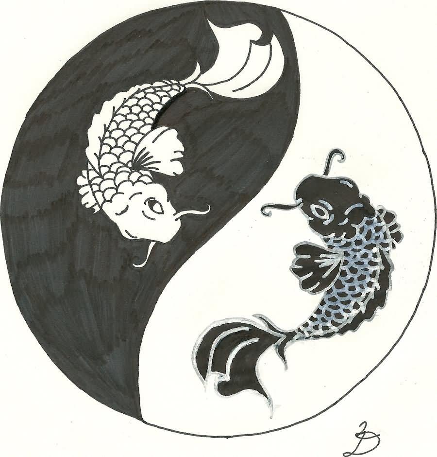 Tattoo Designs Yin Yang Symbol: Black Pisces In Yin Yang Tattoo Design By RelentlessArt