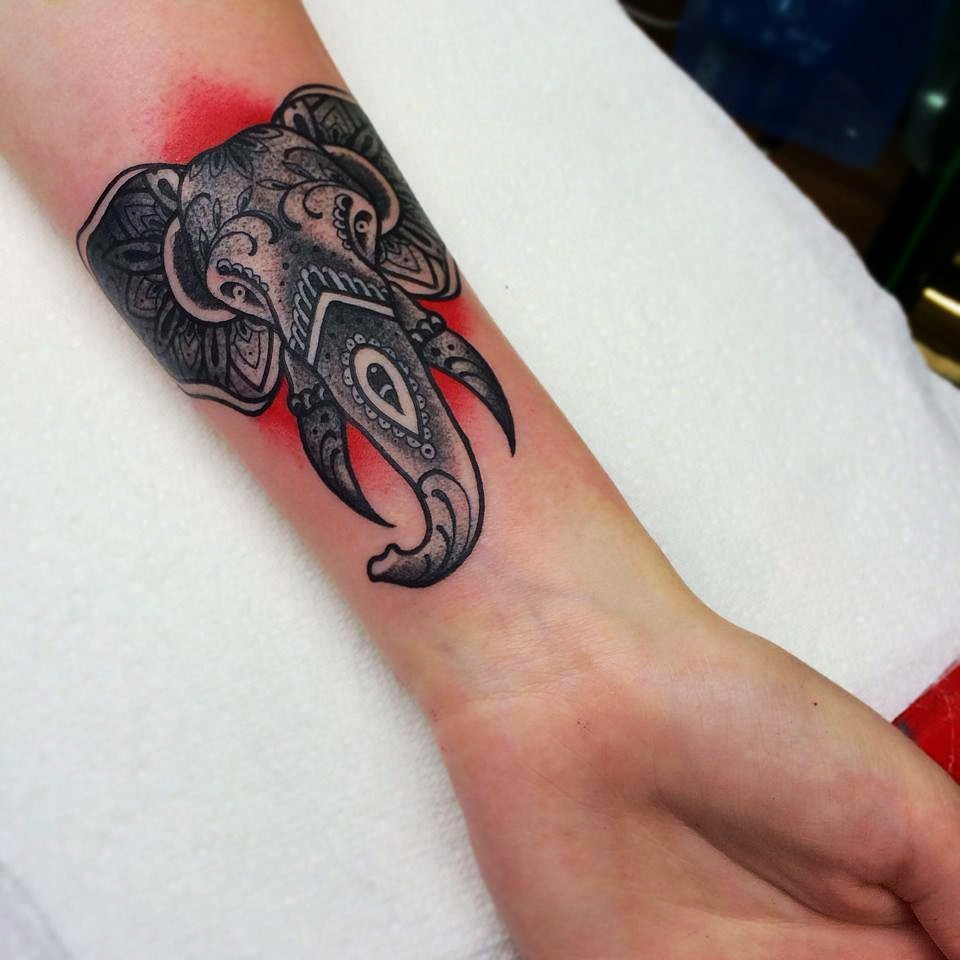 2a850ae5d Black Polynesian Elephant Head Tattoo On Left Forearm By Paulie Surridge