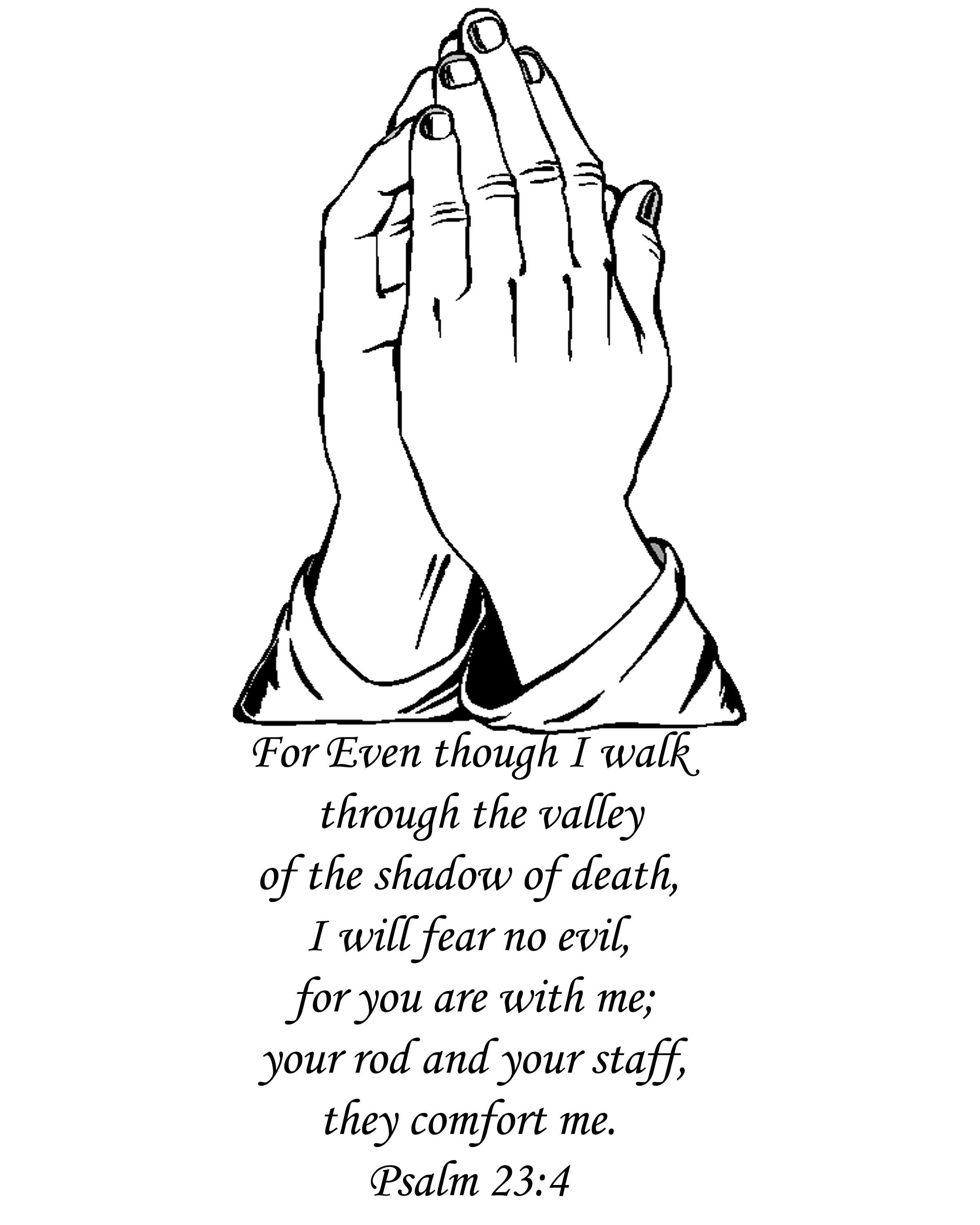 Black Religious Praying Hands With Message Tattoo Stencil By Jason