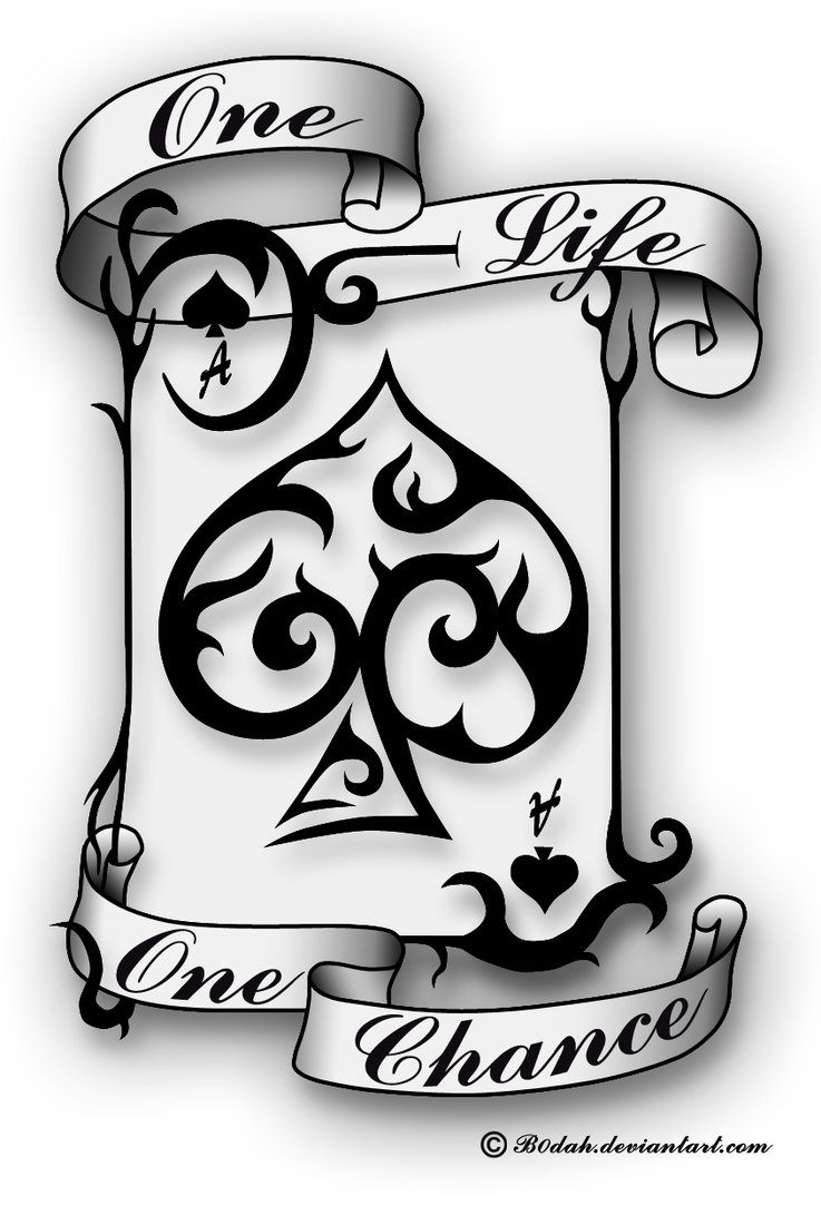 Ace Of Spade Old Card Tattoo Design