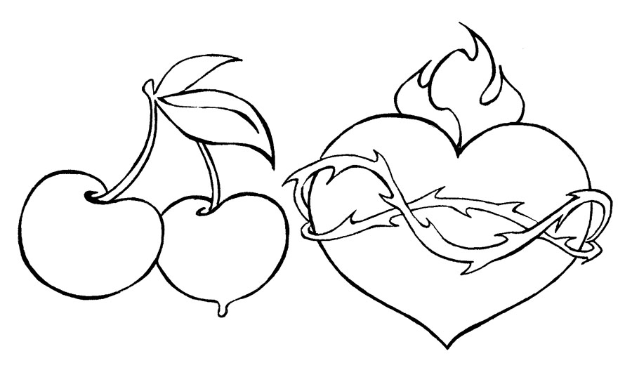 Black Two Cherry And Heart Tattoo Stencil By Porque Te