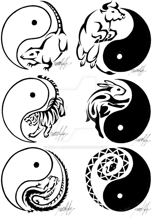 Black Yin Yang Symbol In Sunflower Tattoo Design By Deige