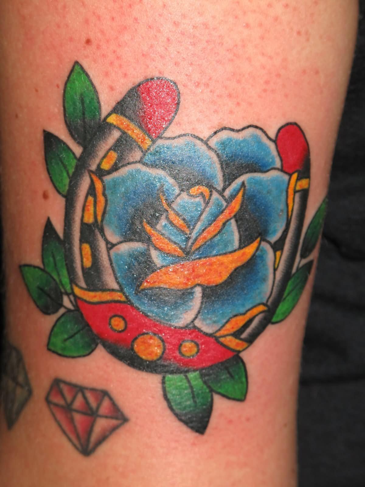18 awesome horseshoe tattoo art gallery for Blue horseshoe tattoo