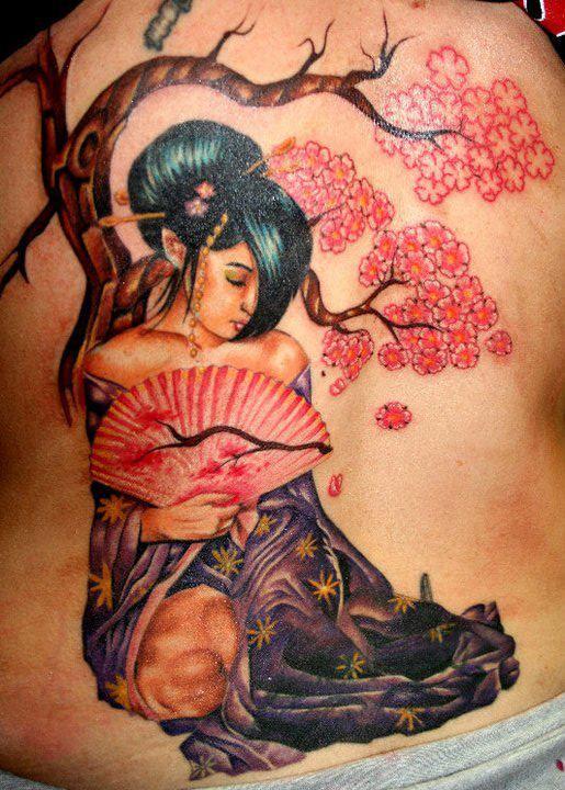 colorful geisha tattoo on girl side rib. Black Bedroom Furniture Sets. Home Design Ideas