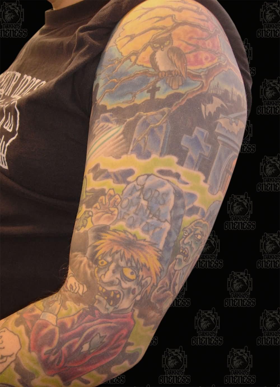 Cemetery and graveyard tattoo on half sleeve - Colorful Zombie Graveyard Tattoo On Left Sleeve