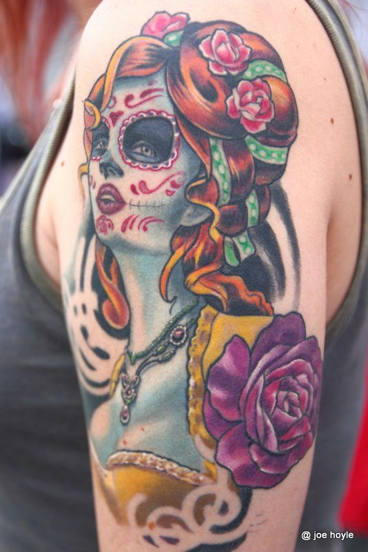Colorful Zombie Lady With Purple Rose Tattoo On Girl Shoulder By Joe