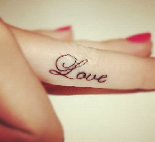 Cute Love Tattoo On Finger